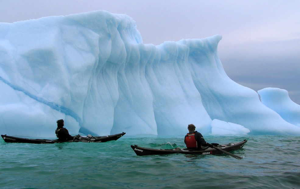paddling with icebergs